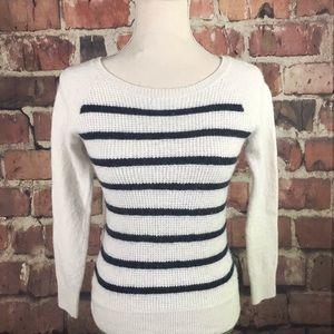 J Crew Wool Blend Navy Stripe Sweater S